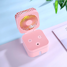 Two In One Mini Fans Air Humidifier Nebulizing Diffuser Lamp Diffuser Portable Air Humidifier Mist Maker Fogger Four Color creative cute pet air humidifier cute cat humidifier 320ml big capacity diffuser portable three in one desktop humidifier