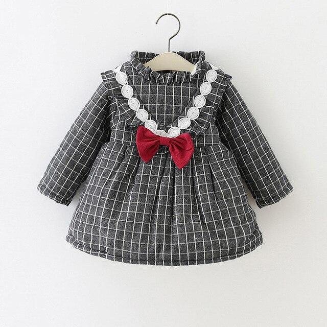 c463db3f1d4e3 Bébé fille imprimer robes enfants hiver robes bébé robe cisaillement en  peluche enfants robes décontracté plaid