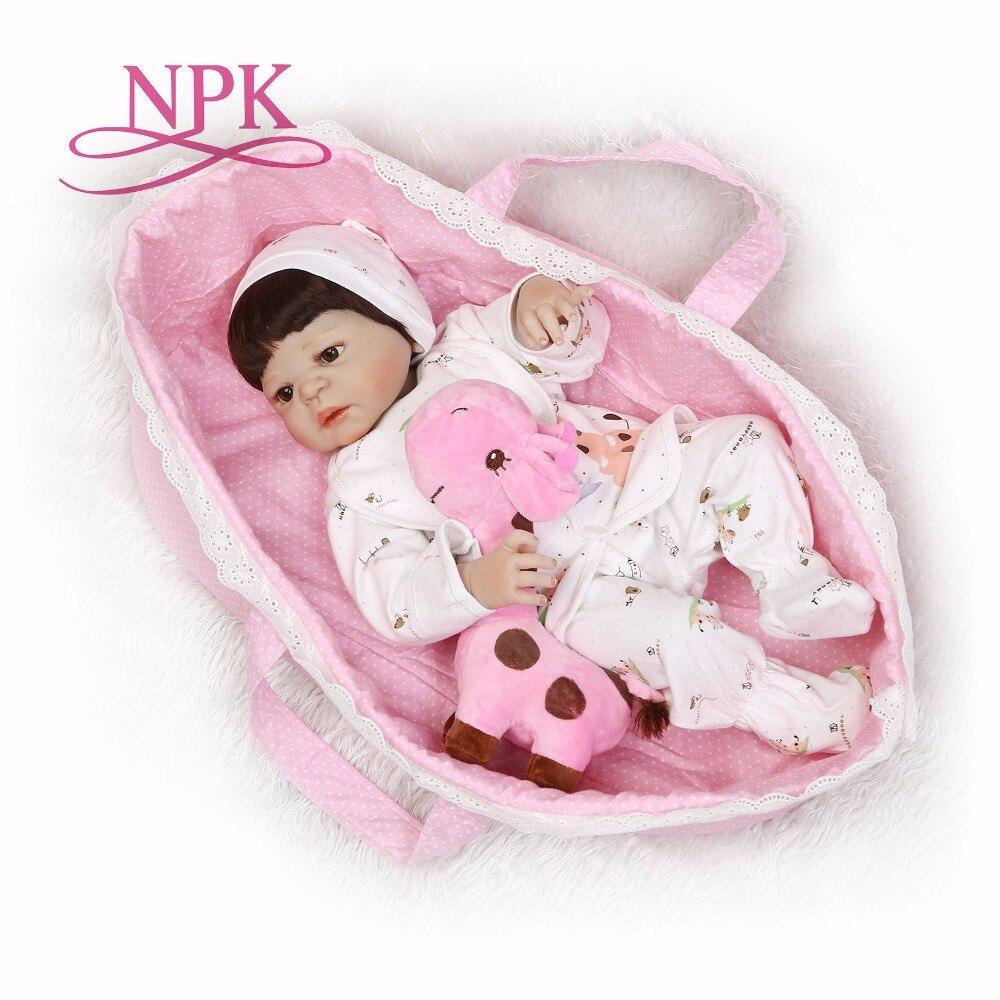 NPK 56cm full body Silicone reborn Baby Doll Girl Newbron Lifelike Bebes Reborn toys playmates for