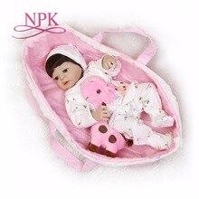 NPK 56 cm corps entier Silicone reborn bébé poupée fille nouveau né réaliste Bebes Reborn jouets compagnons de jeu pour les enfants avec sac de couchage
