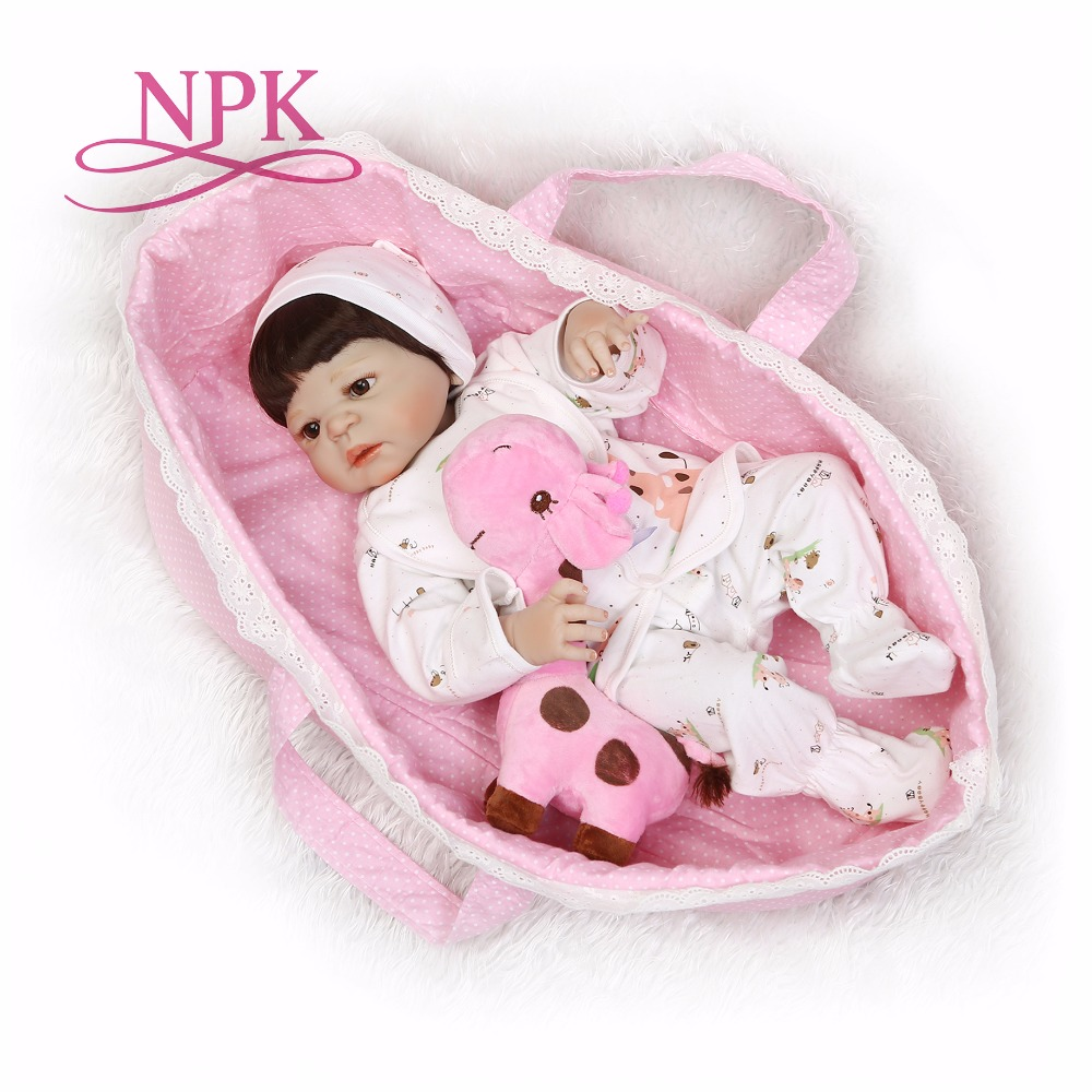 NPK 56cm full body Silicone reborn Baby Doll Girl Newbron Lifelike Bebes Reborn toys playmates for kids with sleeping bag-in Dolls from Toys & Hobbies