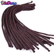 DinDong 22 inch Kanekalon Dreadlocks Men 8 Colors Available Synthetic Crochet Braiding Hair Extensions 30 Roots(China)