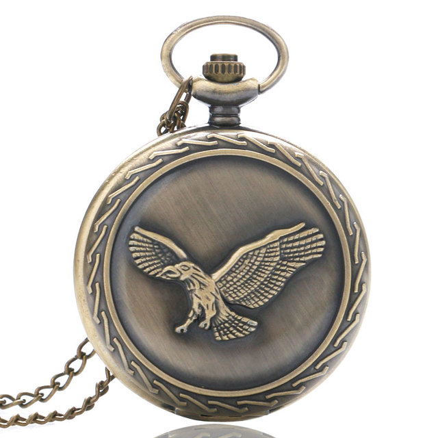 Vintage 3D Bronze Eagle Design Quartz Pocket Watch with Necklace Chain Pendant f