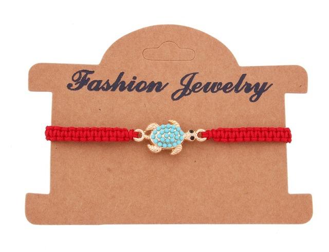 Turquoise Turtle Charm Braided Adjustable Bracelet