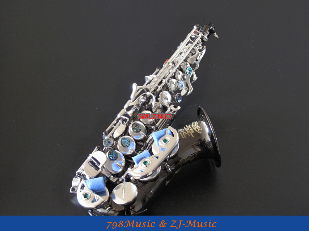 Black Nickel Body and Silver Plated keys Bb Soprano Saxophone Sax Bb key High F New Case yanagisawa soprano s 902 saxophone bb nickel plated gold key professional sax mouthpiece with case and accessories
