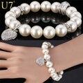 U7 White Pearl Bracelet Trendy Round Pearl Rhinestone Heart Jewelry Gift Women Strand Pink Bracelets  H567