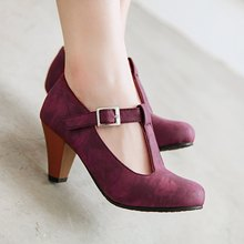 Womens Low Chunky Heel Shallow Retro T-strap Pumps Shoes Plus Size 34 - 48 High Heels