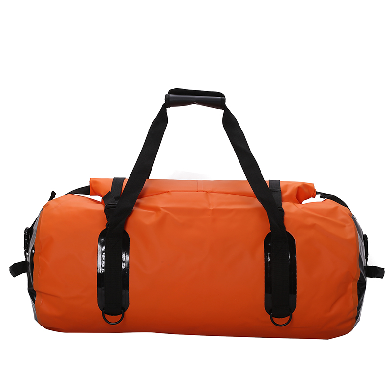 ФОТО Yespace PVC waterproof sport bag rolled up seal mouth blue orange 50 60L capacity outdoor bag hand shoulder  fitness bag KQ0001