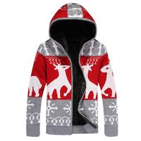 Sweaters for men Deer Christmas Winter Warm Thick sweater Male snowflake coat Jacket Knitted Hooded Casual Fur Sweater 9 Color