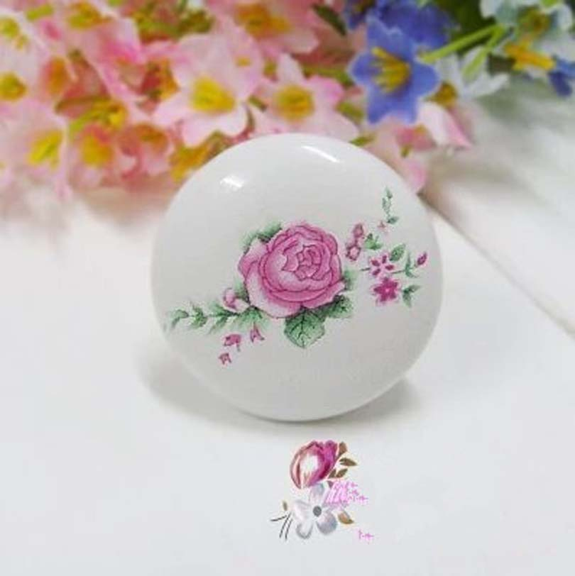 Rustic ceramic furniture knob Pink flower porcelain drawer cabinet knob 38mm white ceramic dresser cupboard door pull handle 10pcs lot free shipping european style porcelain ceramic drawer cabinet wardrobe door knob 2050mbl