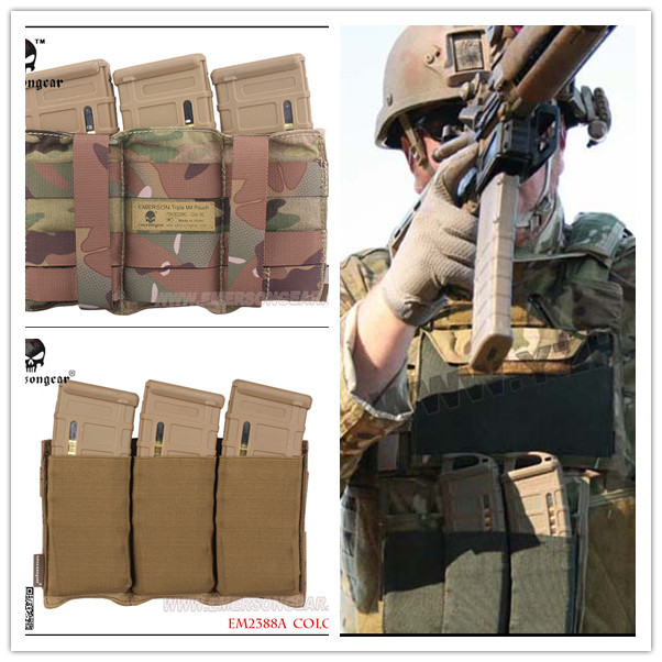 EMERSON Triple <font><b>M4</b></font> Pouch FAST <font><b>Magazine</b></font> molle airsoft wargame gear painball equipment MAG EM2388 BK Coyote Brown SG MC image