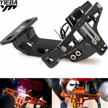 Universal Motorcycle Adjustable License Plate Bracket Holder FOR KAWASAKI GTR1400 CONCOURS NINJA 650R/ER6F/ER6N NINJA 400R 250R universal motorcycle accessories cnc aluminum license plate led light for kawasaki er6n er6f ex500r ex250r zx1100 zx636