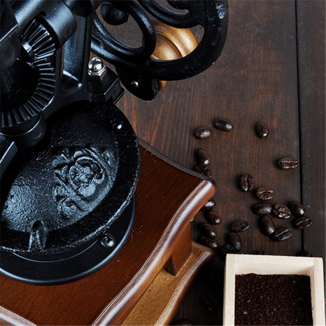 Retro Classic Wheel Coffee Manual Grinder Grinding Fast Log Labor Saving Hand-washing Mat Grinder Copper Wood Ceramic Core 2