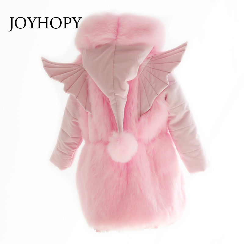 JOYHOPY Baby Girl Jackets Hooded Wing Design Thick Pink Cotton Parka Warm Winter Kids Snow Jackets