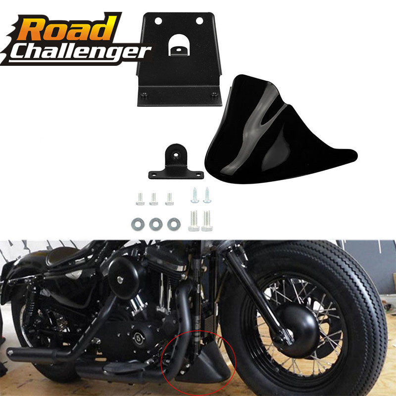 Black Motorcycle Front Chin Bottom Spoiler Mudguard Air Dam Fairing Cover Mudguard  Fair for For Harley Sportster XL883 XL1200 sportster spoiler engine guard