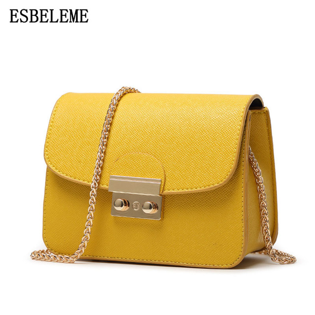 1c6a92096f 2018 Hot Sale female Faux leather Flap bags For women yellow white ladies  small lock chain
