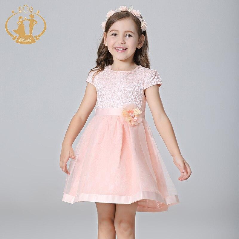 Nimble Girl Dress Jacquard Baljurk Handgemaakte bloemen Parels Kralen - Kinderkleding