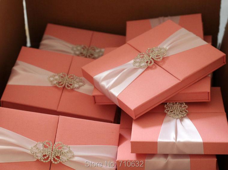 Sweet Pink Silk Box Invitation Satin Wedding Invitation Box with ...