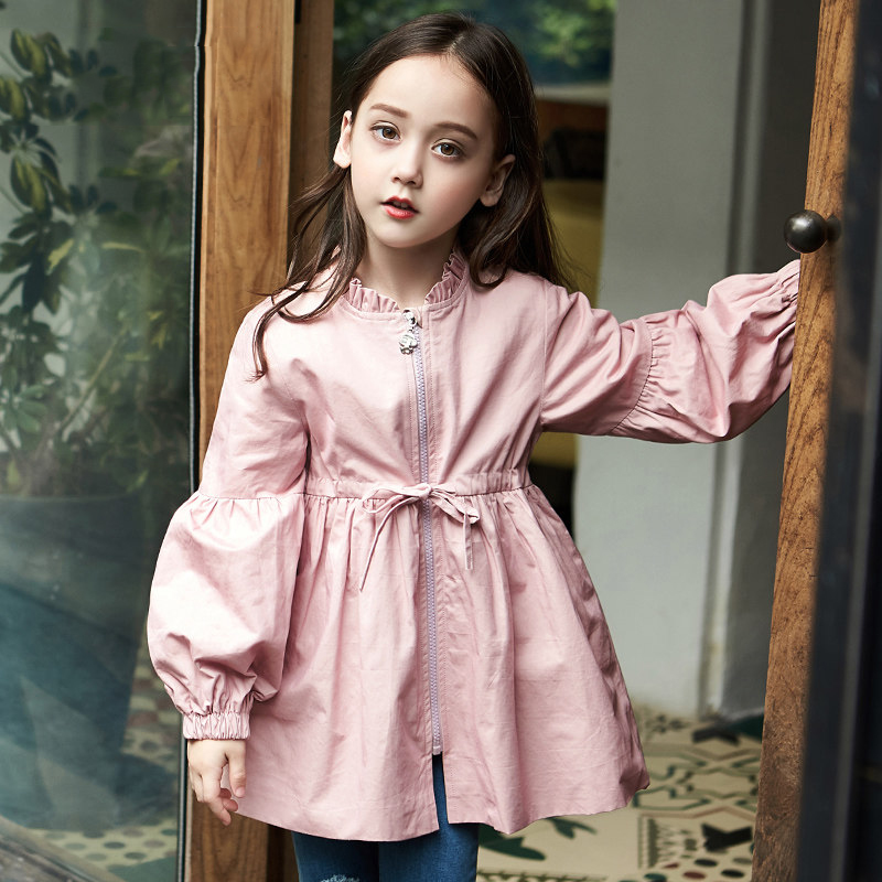 2017 Girls Long Style Autumn Fall Outwear Windbreaker Winter Coat Teens Jacket for Kids Clothes Age 456789 10 11 12T Years Old 2018 baby girls red cardigan floral design cute spring coat for children teenage spring clothes age 456789 10 11 12 years old