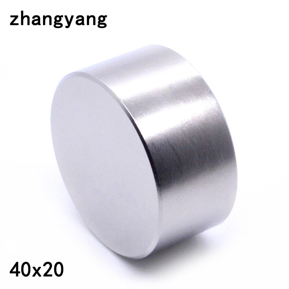 ZHANGYANG 1 piezas N52 imán de neodimio 40x20mm metal galio super fuerte imanes 40*20 imán redondo poderoso magnético permanente