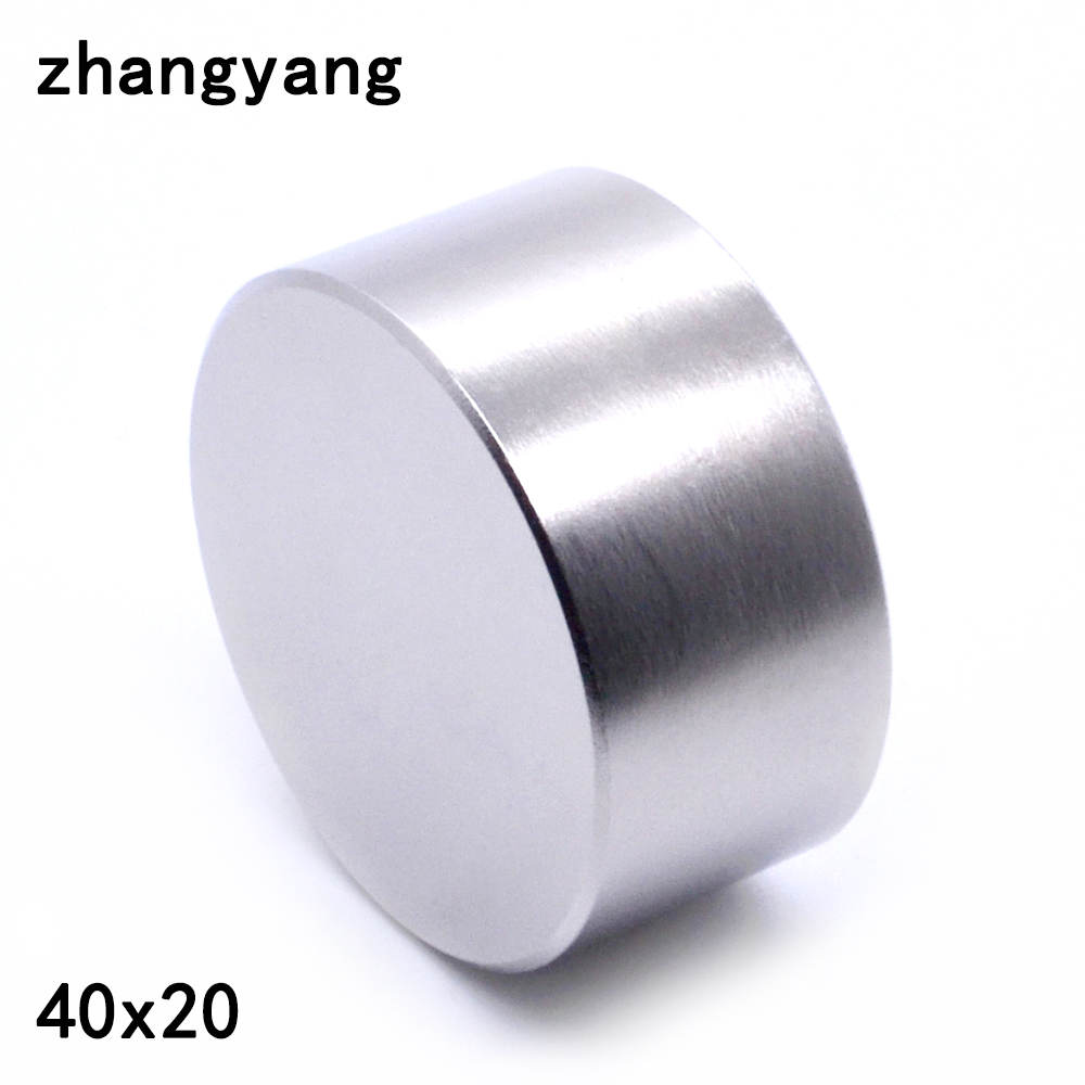 ZHANGYANG 1pcs N42 Neodymium magnet 40x20 mm gallium metal super strong magnets 40*20 round magnet powerful permanent magnetic