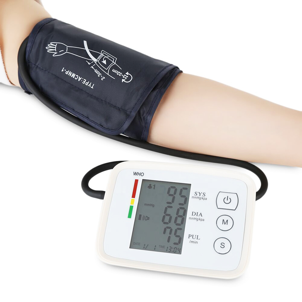 Automatic Digital LCD Display Arm Blood Pressure Monitor Heart Beat Rate Pulse Meter Measure White Convenient Carry Top Sale voice version digital lcd upper arm blood pressure monitor heart beat meter machine spygmomanometer portable home type free ship