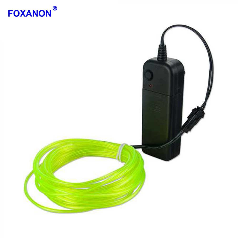 Foxanon EL Wire 3 V на батарейках гибкая светодиодная световая полоса неоновые трубчатые огни Водонепроницаемая Автомобильная праздничная одежда Свадебная 1 м 2 м 3 м 4 м