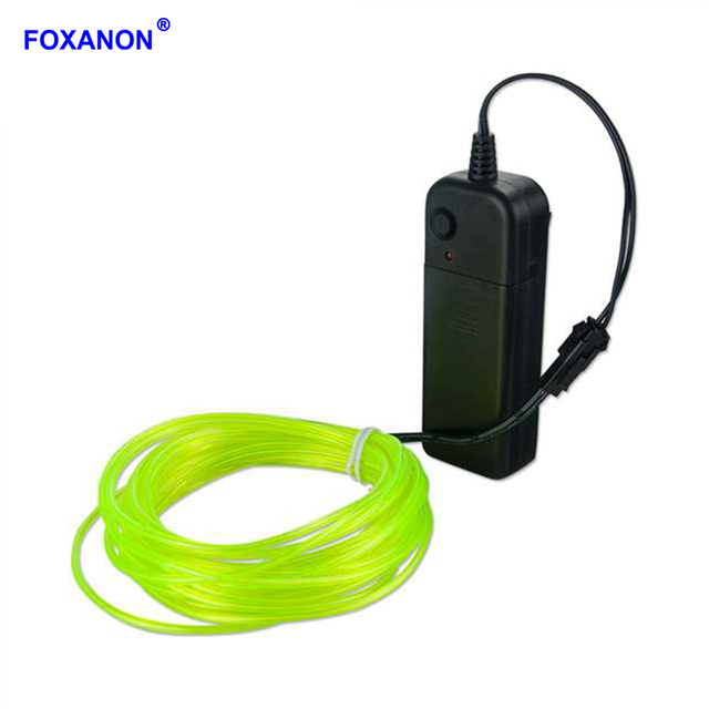 Foxanon EL Wire 3V Battery Powered Flexible Led Light Strip Neon Tube Lights Waterproof Car Party Clothing Wedding 1M 2M 3M 4M