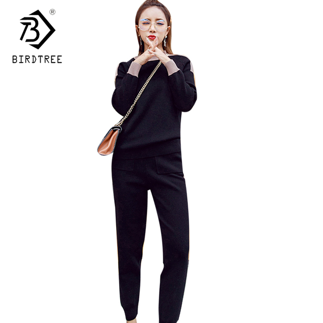 2 Pieces Set Women Hit Color Casual Slim Ankle-Length Pant Fall Winter Knitted Long Sleeve Sweater Tops + Pencil Pant Hot S7D112