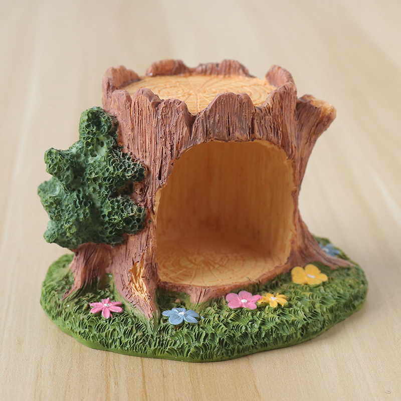 European Resin Tree Hole Ornaments Home Decoration Accessories Cartoon Model Tree Hole Miniature Figurines Birthday Gifts Craft in Figurines Miniatures from Home Garden