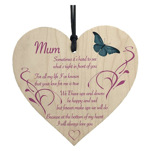 mum i will always love you wooden hanging heart mothers day present