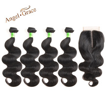 Angel Grace Hair Brazilian Body Wave Human Hair Weave 4 Bundles With Closure Remy Hair Extensions 4×4 Middle Part Lace Closure
