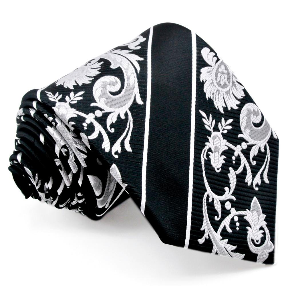 Juodosios baltos juostelės gėlių vyrų kaklaraiščių - Drabužių priedai - Nuotrauka 3