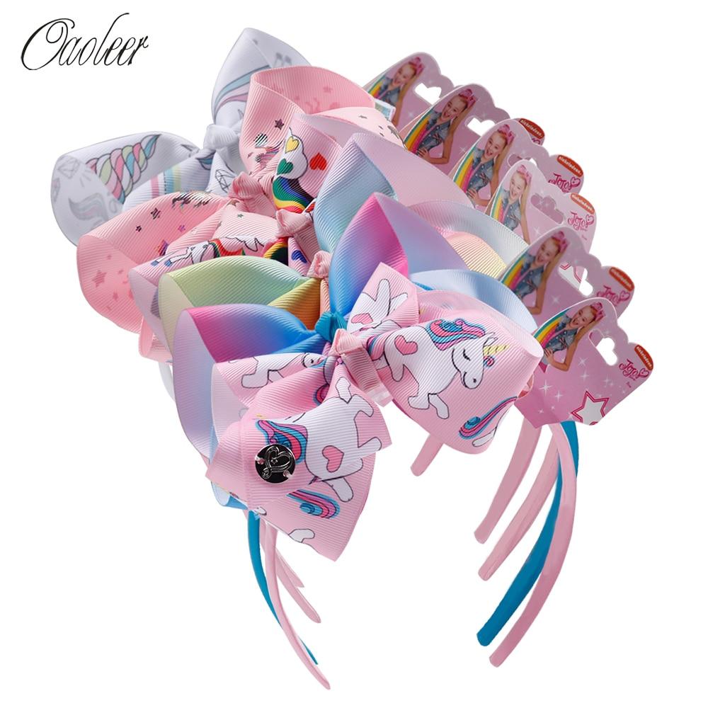 6 Pcs/Lot Fashion Girl Cartoon Hair Bow Headband Boutique Rainbow Printed Handmade Ribbon Hairbands Children Hair Accessories