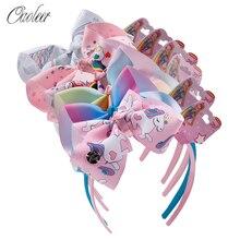 6 Pcs/Lot Fashion Girls Hair Bows Bands JOJO Siwa Cartoon Rainbow Ribbon Headbands for Baby Girls Children Hair Accessories