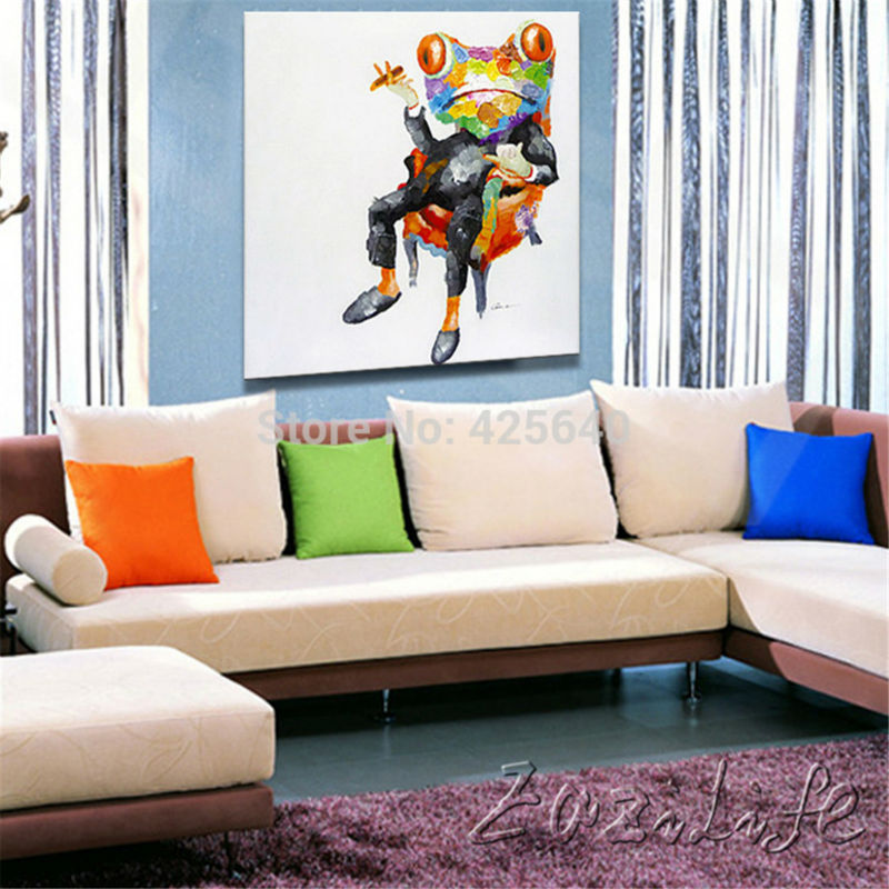 Pop Art Frog Oil Paintings On Canvas Wall Pictures Art For Living Room  Canvas Abstract Hand Painted Christmas Home Decor Cuadros In Painting U0026  Calligraphy ...