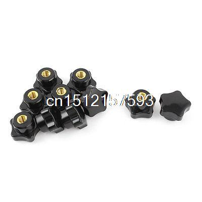 10pcs M8 Female Thread 30mm Star Shaped Head Clamping Nuts Knob Grip Handle 5pcs m6 x 40mm female thread clamping knobs 6mm thread 40mm head dia 7 star shaped through hole clamping nuts knob