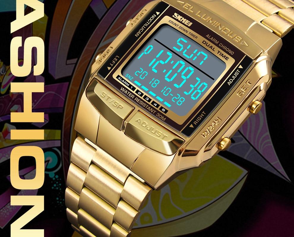 SKMEI Sports Watch Men Digital Watch Alarm Clock Countdown Watch Large Dial Glass Mirror Clock Fashion Outdoor Relogio Masculino 10