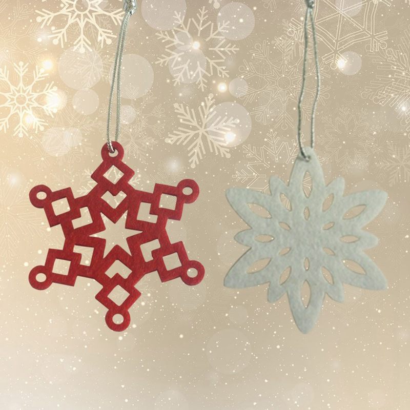 2018 New 10pcs/set Tree Snowflake Pendant  Hanging White Red Small Snowflake