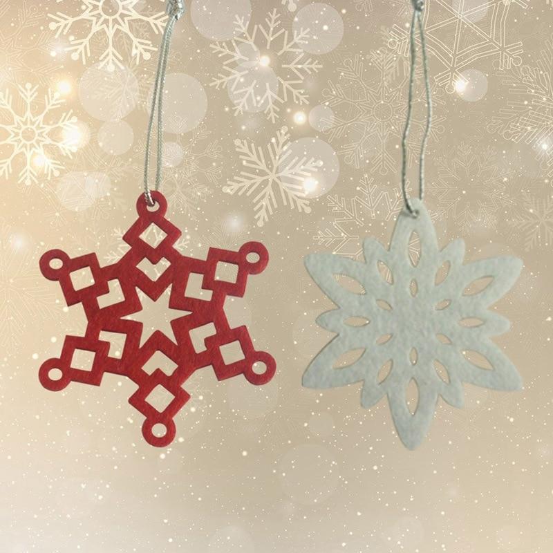 2018 New 10pcs/set Tree Snowflake Pendant  Hanging White Red Small Snowflake