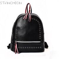 STANCHION PU Leather Backpack For Women Black Rivet Ribbons Big Capacity Casual Shoulder Backpack For Girls