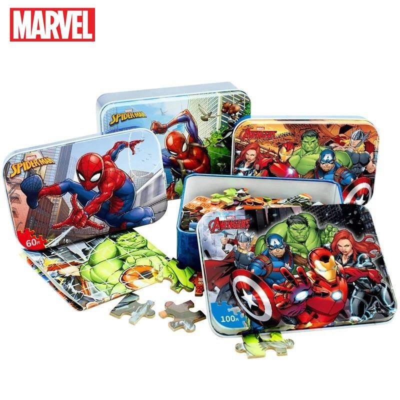 Original Disney  Avengers Spiderman Car Disney Puzzle Toy Children Wooden Jigsaw Puzzles Kids Educational Toys for Children Gift 1
