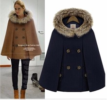 Woman England Style Woolen Coats Double Breasted Batwing Sleeve Cape Fur Hooded Cape Warm Elegant Luxury Cape Coats(China)