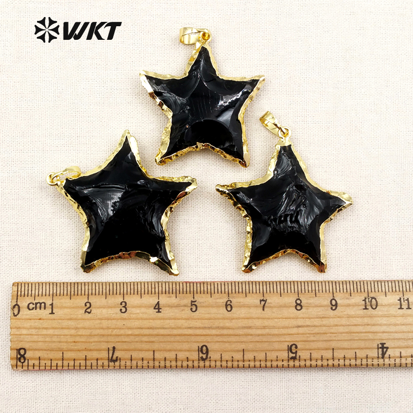 WT-P1323 WKT Hot Sale! Trendy Star Shape Necklace Pendant Black Obsidian Pendant Romantic Style For Women Gift High Qualitly