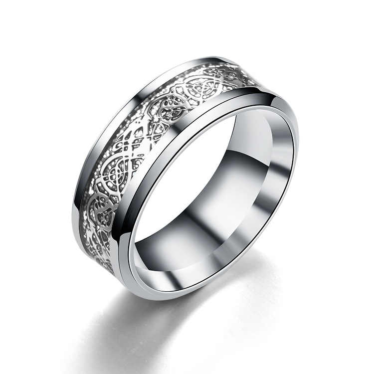 Monla 8mm Silvering Celtic Dragon Carbide Ring Mens Jewelry Wedding Band Silver Rings Jewelry Eternity Ring