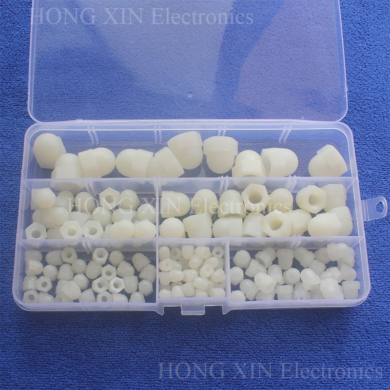 140Pcs M3/M4/M5/M6/M8/M10 White Plastic Acorn Hex Nuts Assortment kit set Hexagon Decorate Cap Nuts Fastener Hardware PCB m