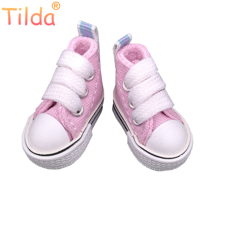 Tilda 3.5cm Doll Shoes For Blythe BJD Toys,Mini Canvas Toy Sneakers for Dolls 1/8 for Blyth bjd accessories for Dolls Toy Gift цена