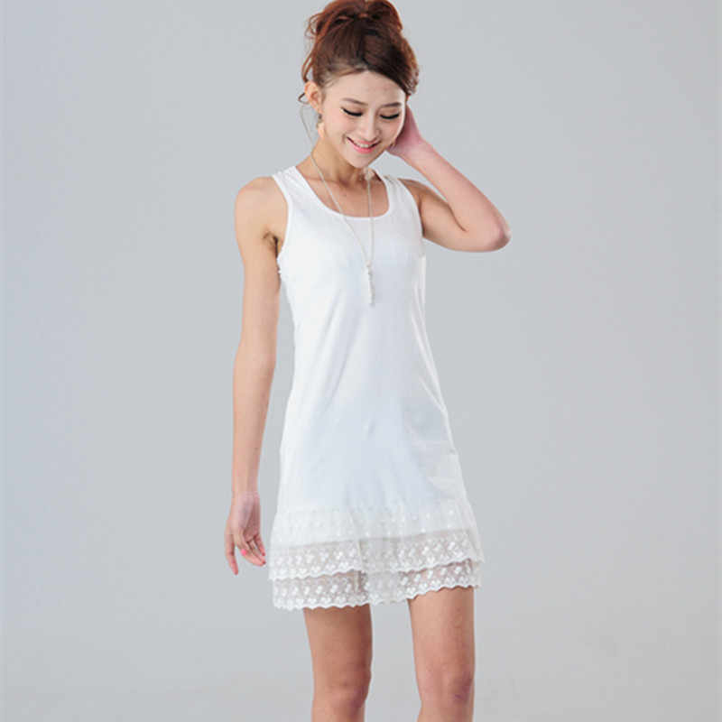 864a3dd4e1b Summer Black Gray White Lace Above Knee Tank Dress Quality Elastic Cotton  Underdress Plus Size Basic