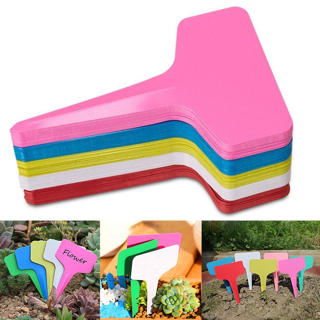 Flower Vegetable Planting Label Tools Farm Garden Seedling Tray 20pcs Gardening Plant T Shape Waterproof Tags Mark Garden Tools