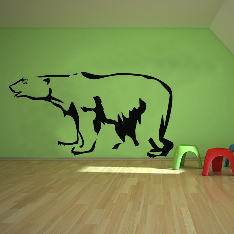Modern Design Animal Polar Bear Wall Stickers Kids Bedroom Wall Decor Decal Vinyl Black Printed Home Decoration M545